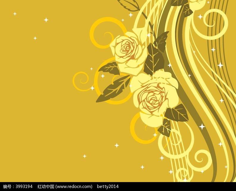 黄色玫瑰卡片背景