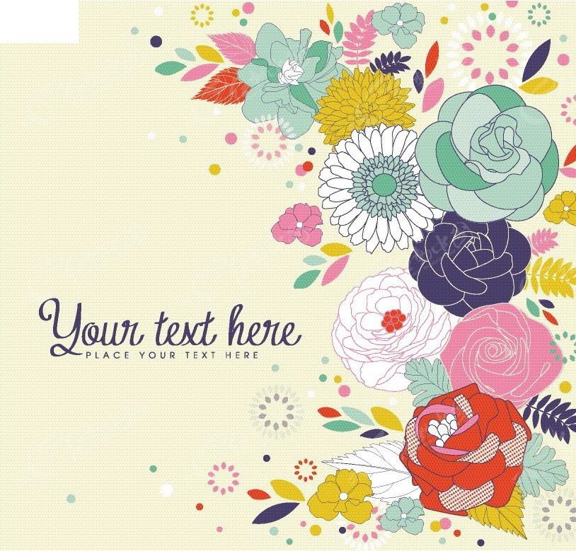 手绘彩色花朵卡片