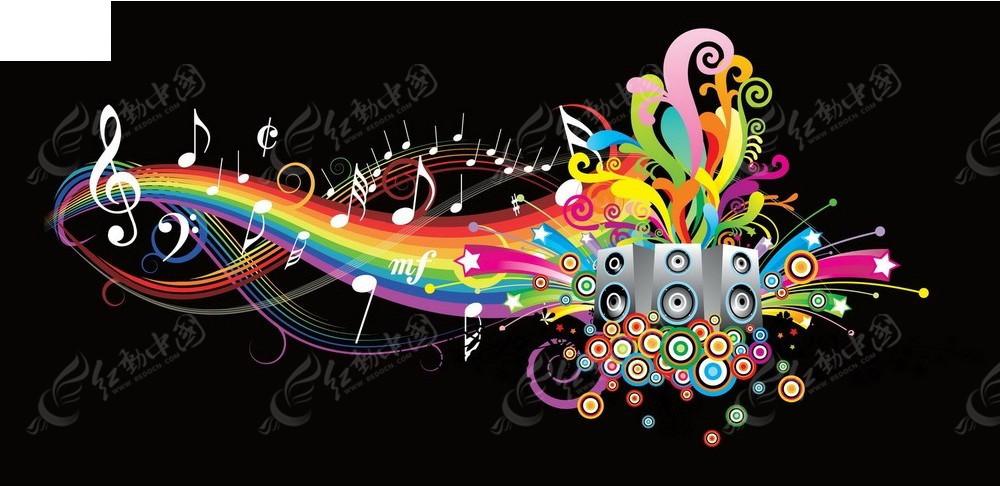 彩虹音乐海报矢量素材
