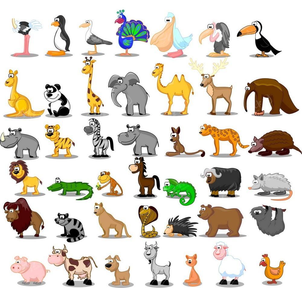 可爱动物园动物海报矢量素材