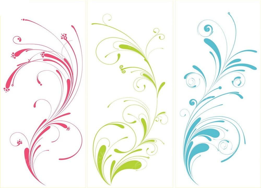 三款彩色水滴花纹