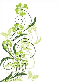 四瓣花与蝴蝶卡片背景