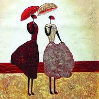 撑阳伞的女人油画