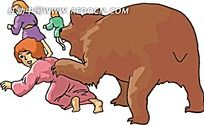 熊咬人矢量素材