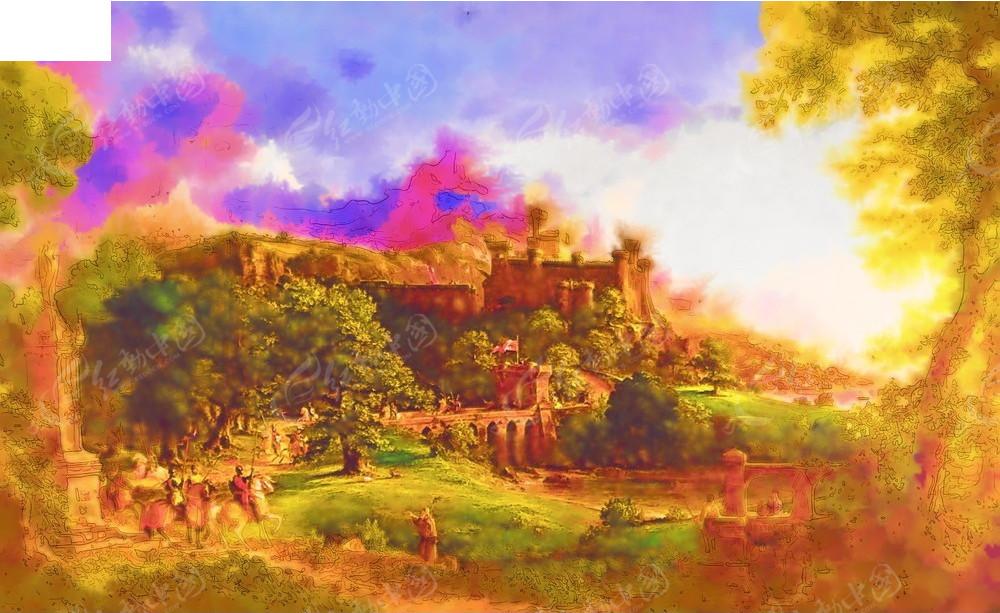 油画   风景 房子 树