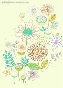 淡绿色线条花卉背景素材