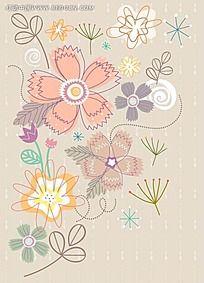 褐色花卉背景素材