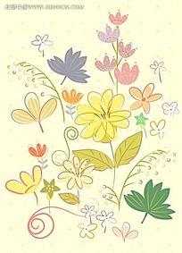 黄底花卉背景素材