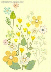 黄色简约植物背景素材