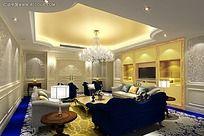 蓝色欧式豪华客厅效果图