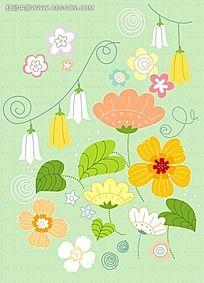 绿底橙色花朵背景素材