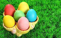 草丛彩色鸡蛋复活节彩蛋装饰