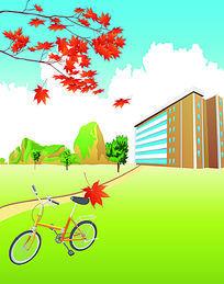 单车枫叶二双开移门图案