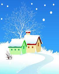 冬日小屋双开移门图案