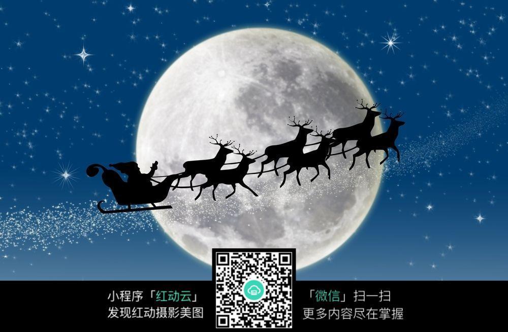 高清圣诞节月下麋鹿高清大图