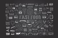 黑白线描西式快餐图案