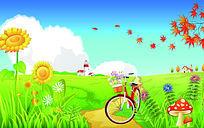 花丛单车三开移门图案