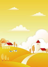 农场秋景双开移门图案