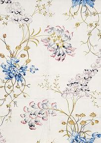 手绘花草花卉窗帘纹饰