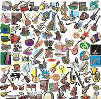 多种卡通乐器图集