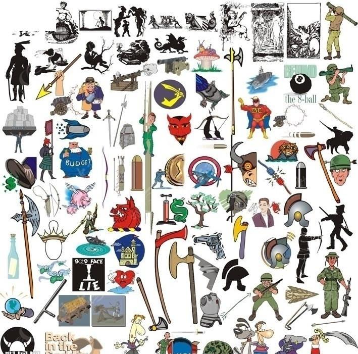 人物武器动物矢量图