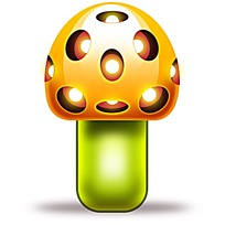 橙色绿色格调蘑菇卡通图片