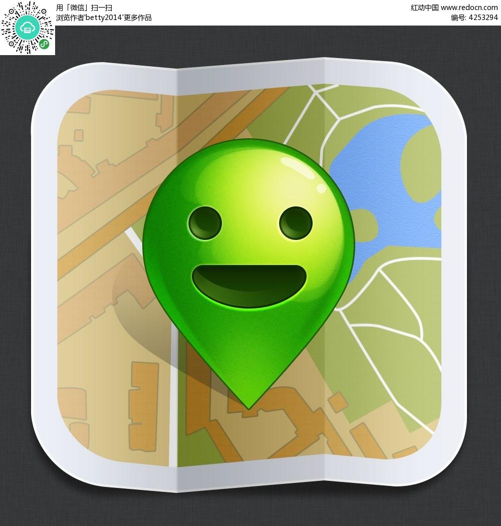 手机界面绿色笑脸地标图标_APP图标
