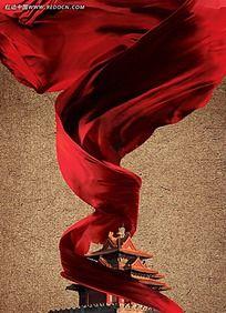 飞扬红布动感海报背景