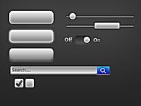 黑白风格手机界面元素图标