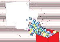 红色横条立体方块边框背景