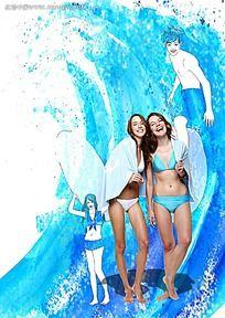 穿蓝色泳衣的女孩背景素材