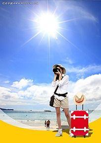 海边拍照的女孩背景素材