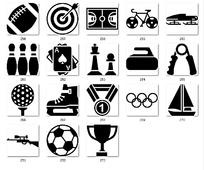 黑白奖杯体育运动图标设计