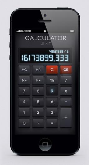 黑色苹果手机计算器界面图片