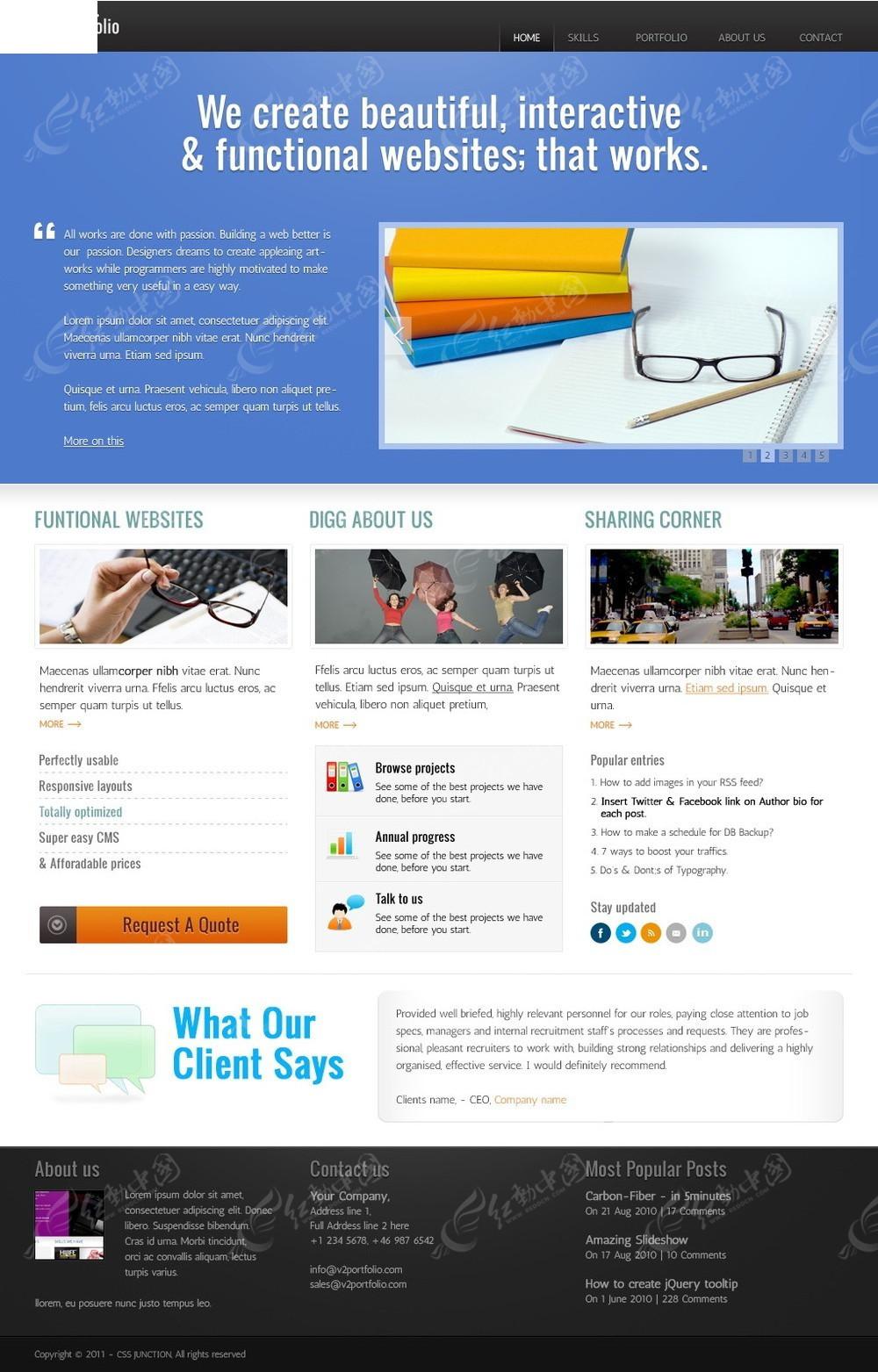 蓝色风格手机英文网页模板_APP界面