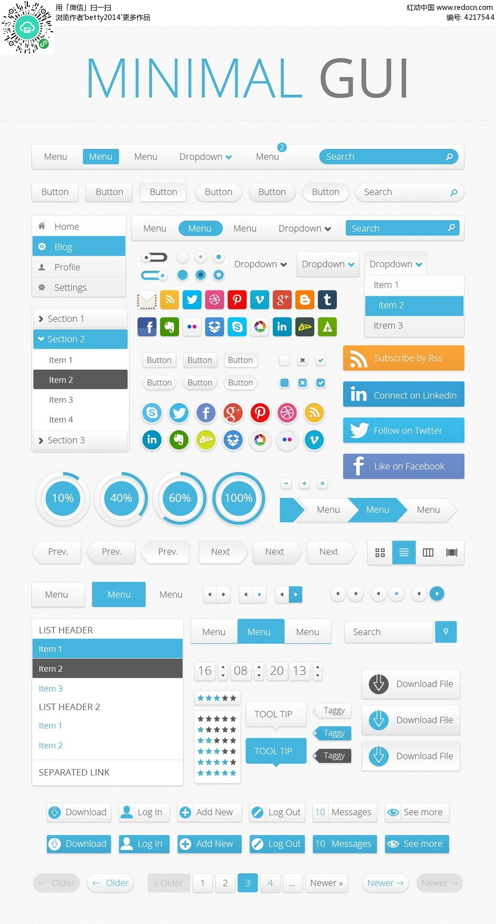 蓝色简约手机界面UI元素图标图片