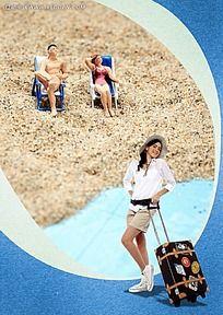行李箱海边度假背景素材