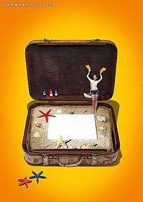 行李箱里的海边背景素材
