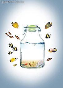 鱼类瓶子背景素材