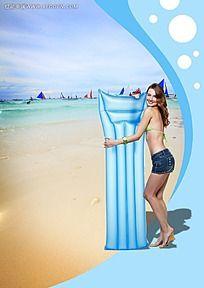 在海边的女孩背景素材