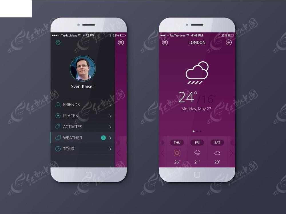 智能手机黑色紫色界面图片