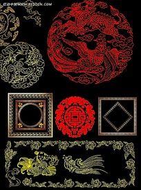 中国风古典花纹花边素材集合psd分层