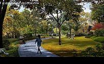 静谧公园小路效果图