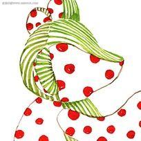 绿色条纹红萍果组成的可爱的小狐锂动画图片