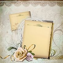 白色玫瑰花相册PSD素材