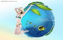 清爽海洋馆宣传海报psd设计