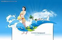 清新夏季背景素材psd设计