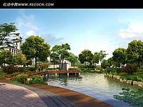 小区木桥湖水景观效果图