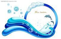 海浪海豚PSD素材