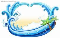 海浪椰树PSD素材